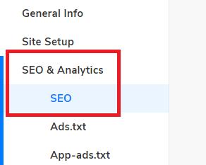 SEO & Analytics Tab